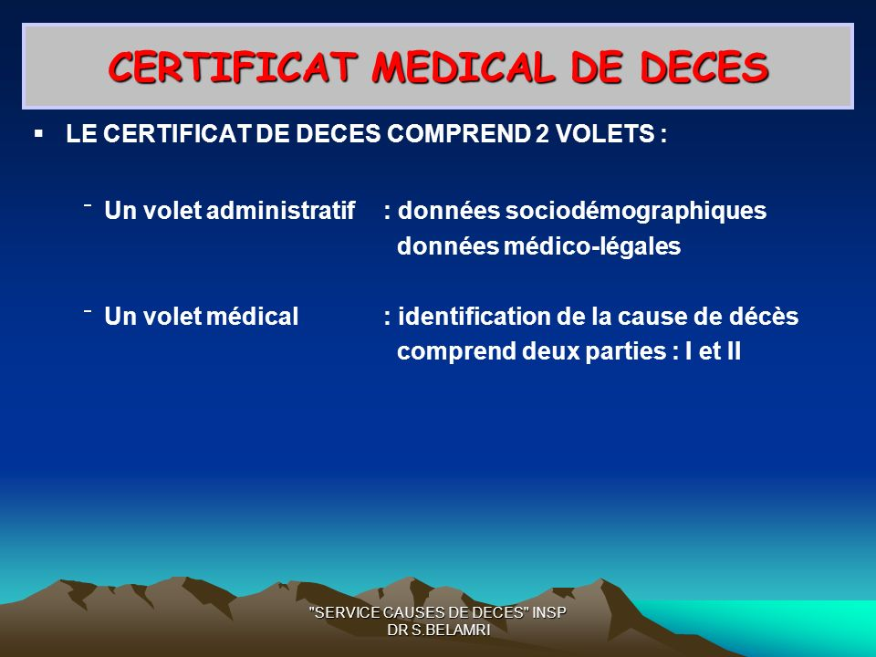 CERTIFICAT MEDICAL DE DECES