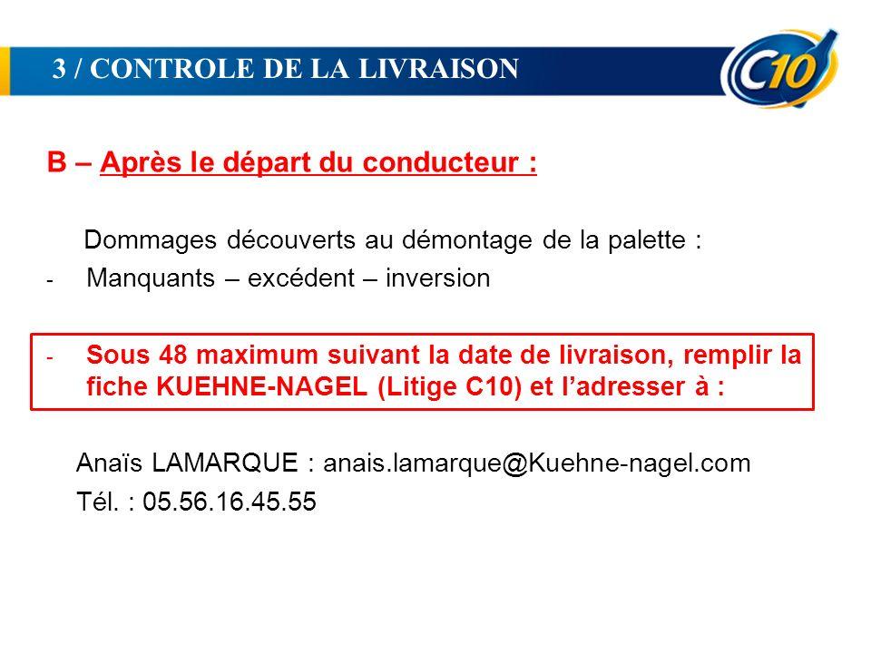 3 / CONTROLE DE LA LIVRAISON