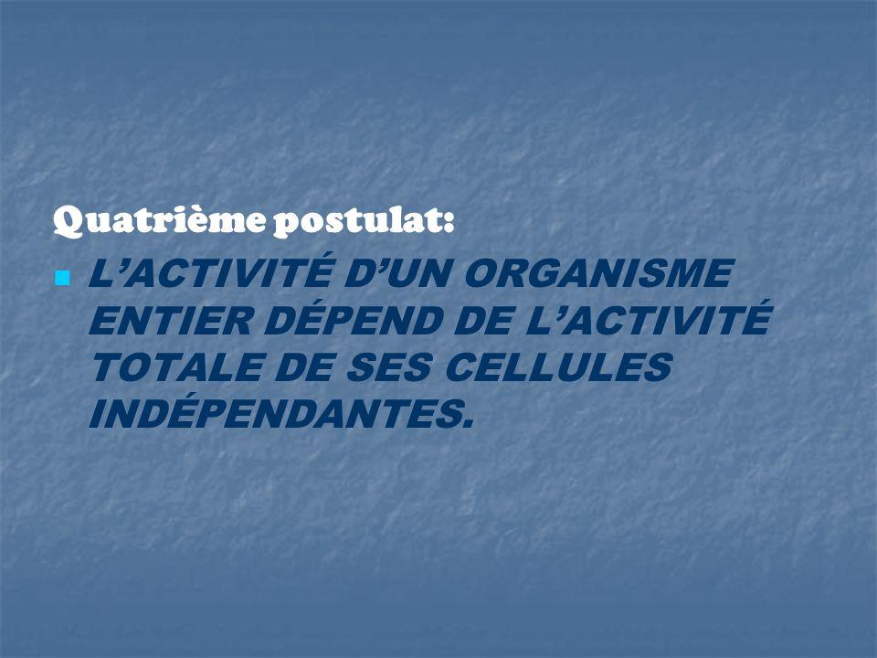 Quatrième postulat: L'ACTIVITÉ D'UN ORGANISME ENTIER DÉPEND DE L'ACTIVITÉ TOTALE DE SES CELLULES INDÉPENDANTES.