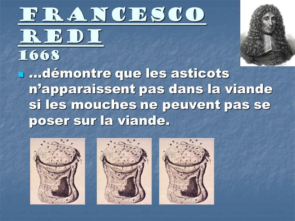 Francesco Redi 1668 …démontre que les asticots n'apparaissent pas dans la viande si les mouches ne peuvent pas se poser sur la viande.