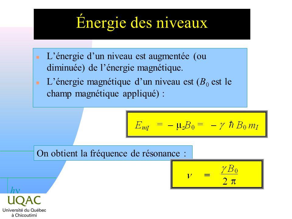 Énergie des niveaux L'énergie d'un niveau est augmentée (ou diminuée) de l'énergie magnétique.
