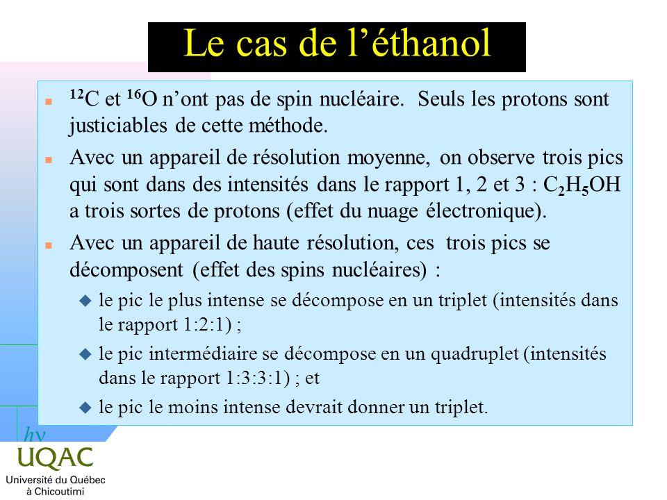 Le cas de l'éthanol 12C et 16O n'ont pas de spin nucléaire. Seuls les protons sont justiciables de cette méthode.