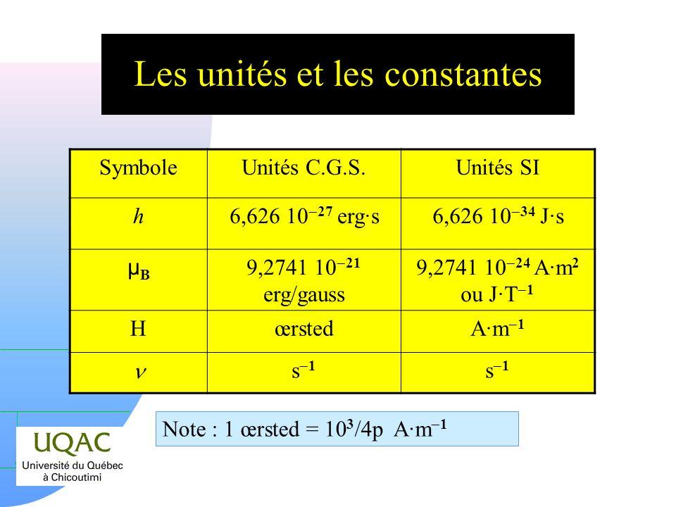 Les unités et les constantes