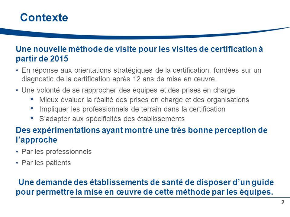 Contexte Une nouvelle méthode de visite pour les visites de certification à partir de 2015.