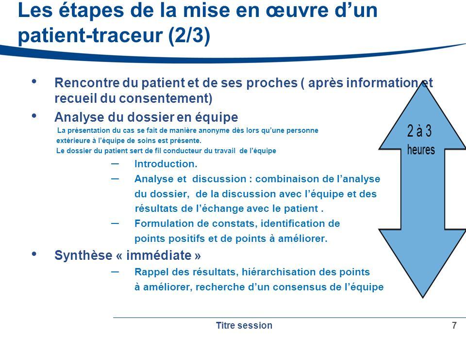 Les étapes de la mise en œuvre d'un patient-traceur (2/3)