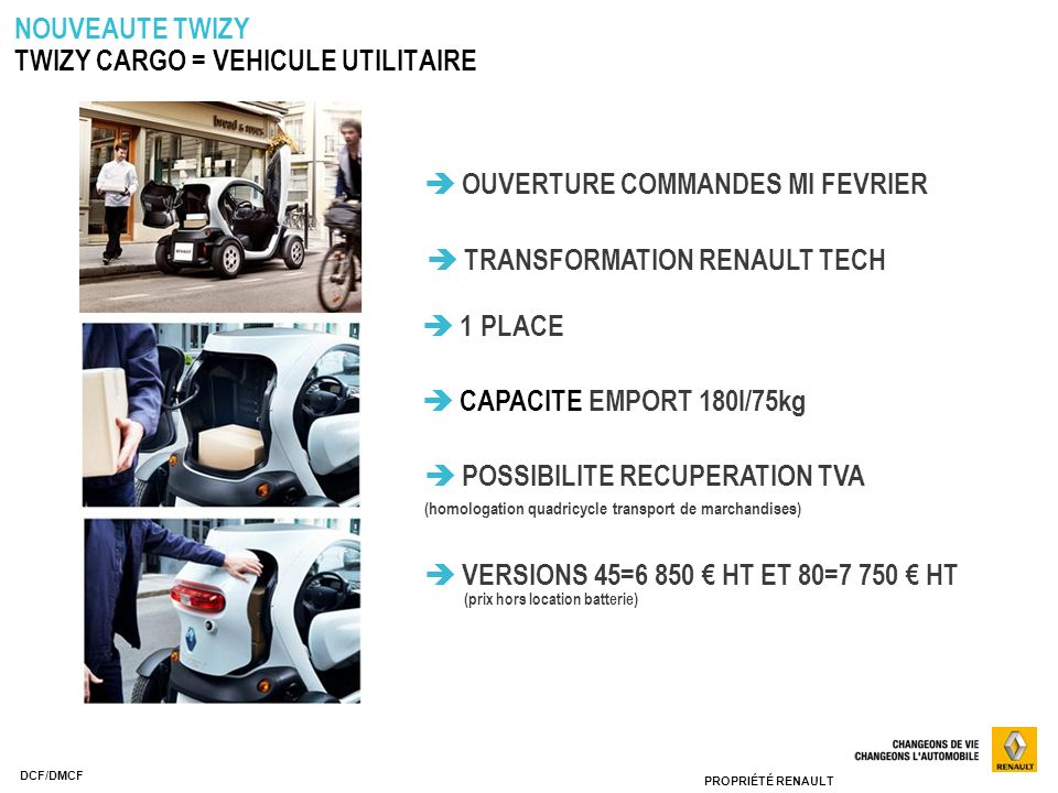 TWIZY CARGO = VEHICULE UTILITAIRE