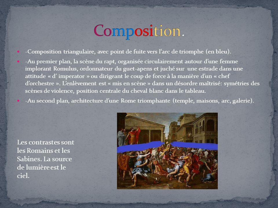Composition. -Composition triangulaire, avec point de fuite vers l'arc de triomphe (en bleu).