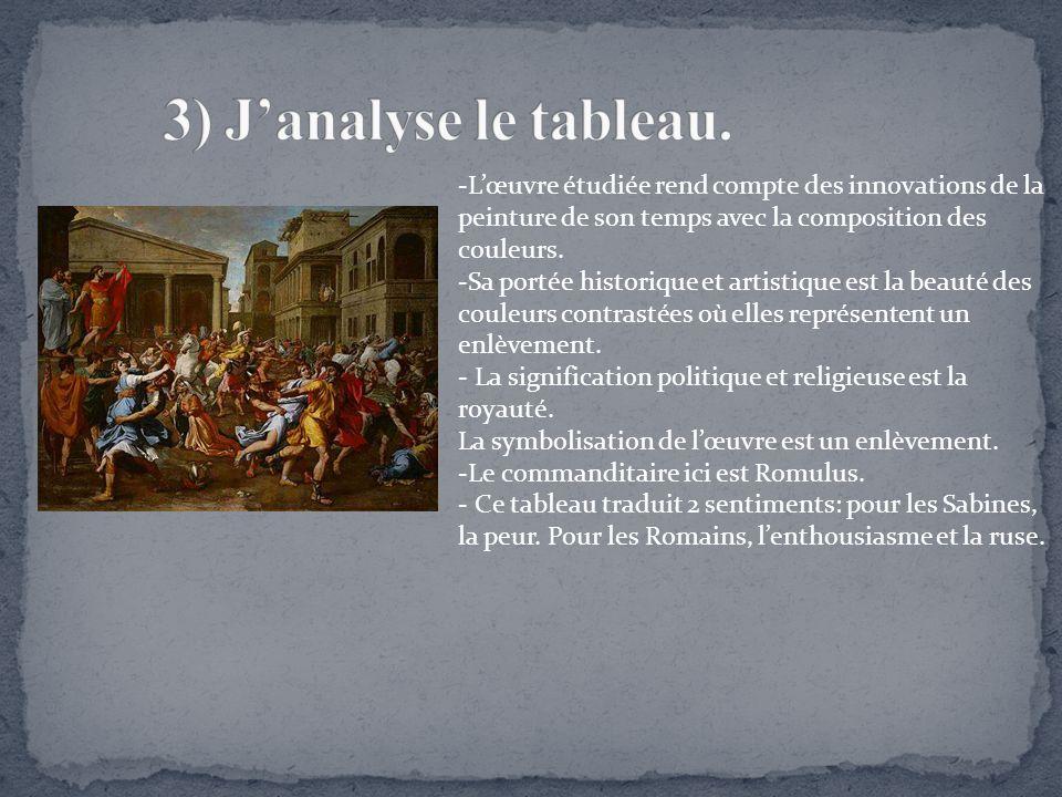 3) J'analyse le tableau. -L'œuvre étudiée rend compte des innovations de la peinture de son temps avec la composition des couleurs.