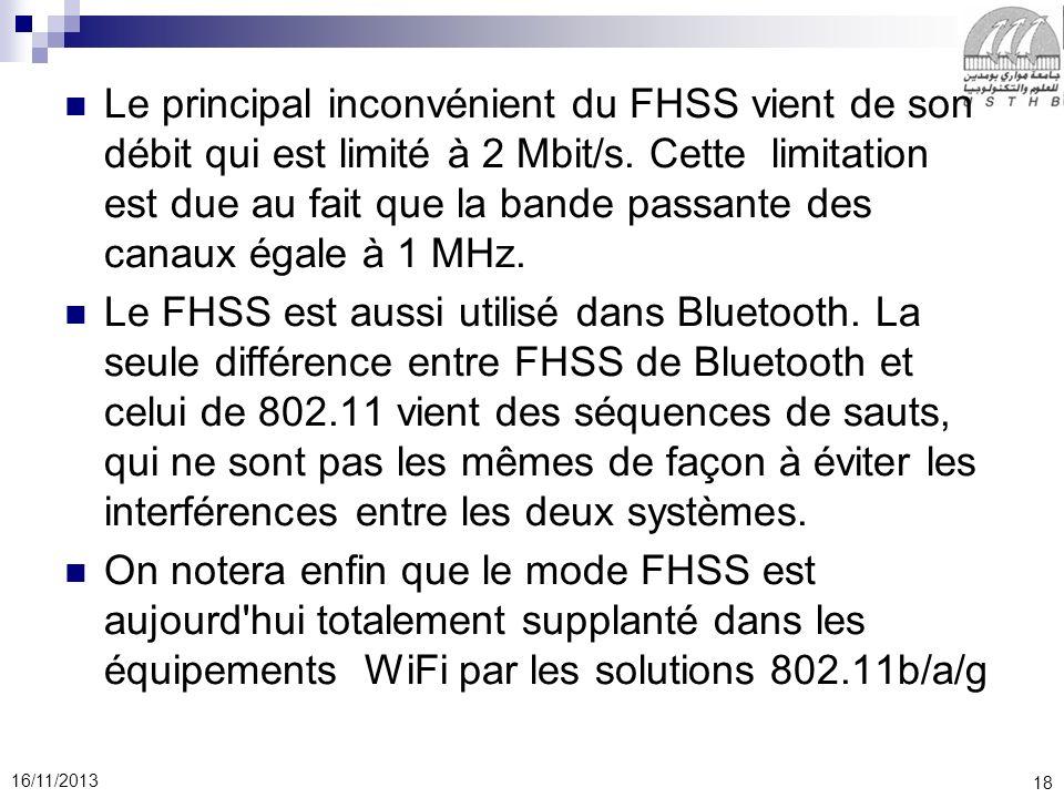 Le principal inconvénient du FHSS vient de son débit qui est limité à 2 Mbit/s. Cette limitation est due au fait que la bande passante des canaux égale à 1 MHz.