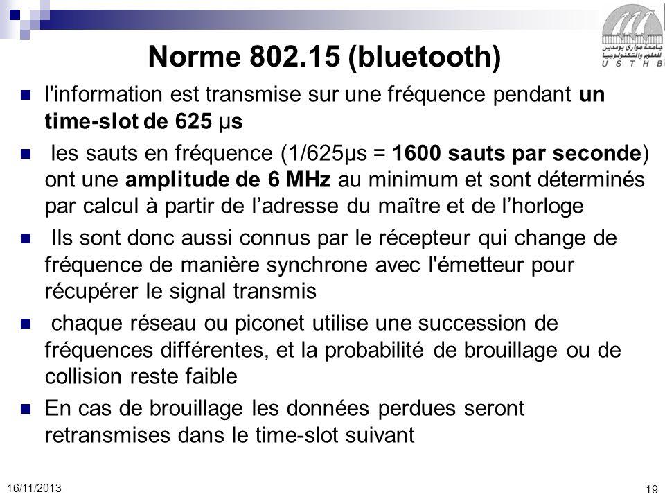 Norme 802.15 (bluetooth) l information est transmise sur une fréquence pendant un time-slot de 625 μs.