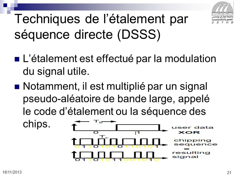 Techniques de l'étalement par séquence directe (DSSS)
