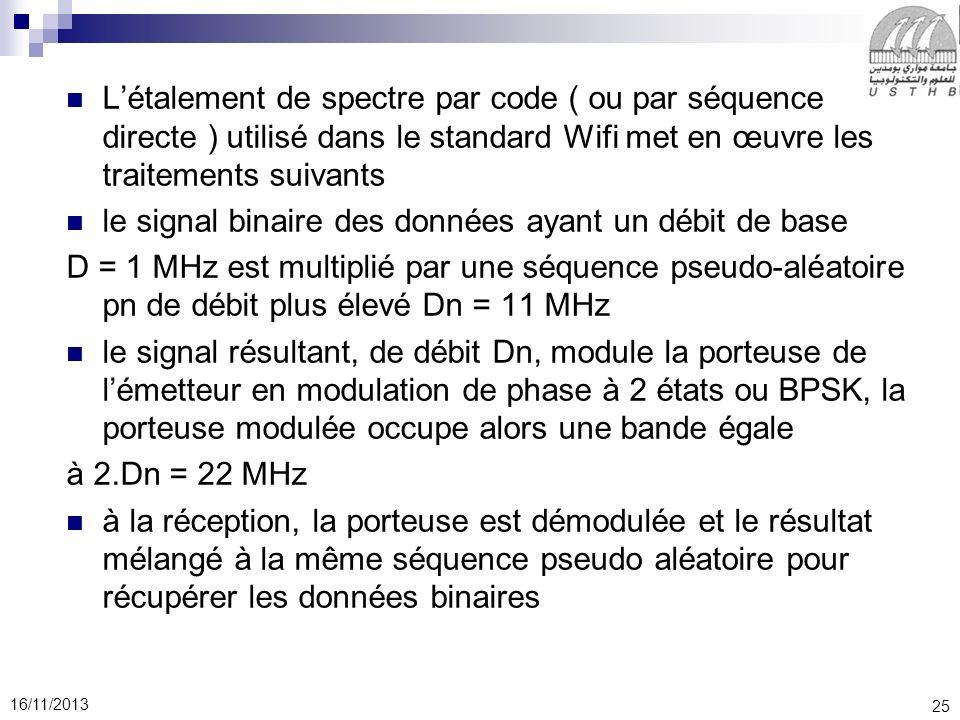 L'étalement de spectre par code ( ou par séquence directe ) utilisé dans le standard Wifi met en œuvre les traitements suivants