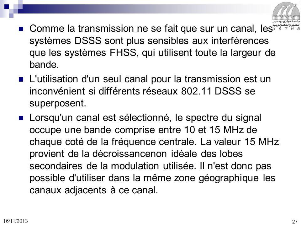 Comme la transmission ne se fait que sur un canal, les systèmes DSSS sont plus sensibles aux interférences que les systèmes FHSS, qui utilisent toute la largeur de bande.