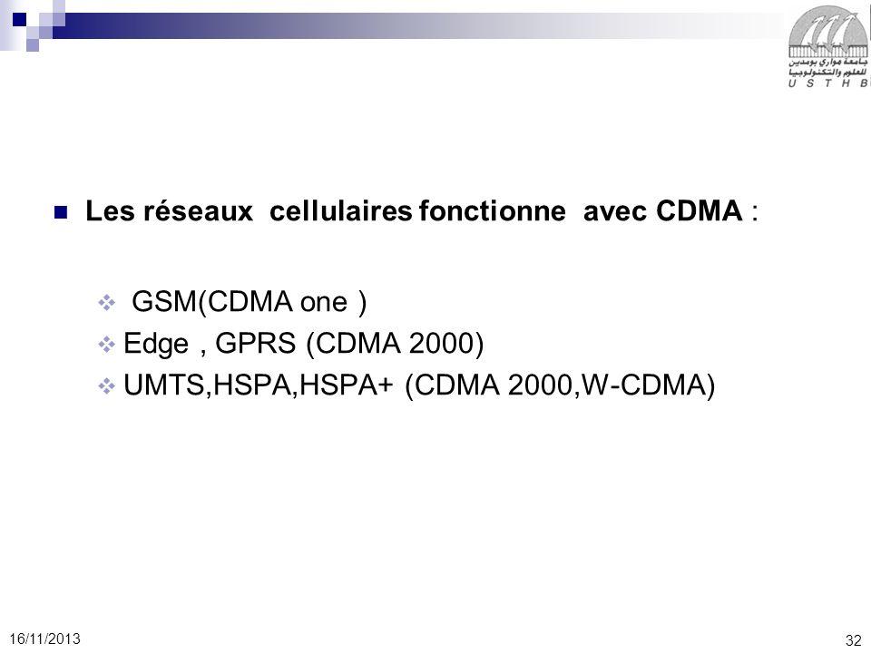 Les réseaux cellulaires fonctionne avec CDMA :