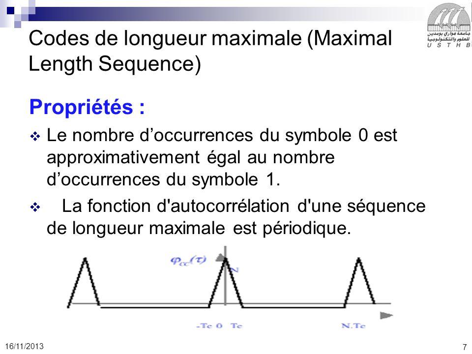 Codes de longueur maximale (Maximal Length Sequence)