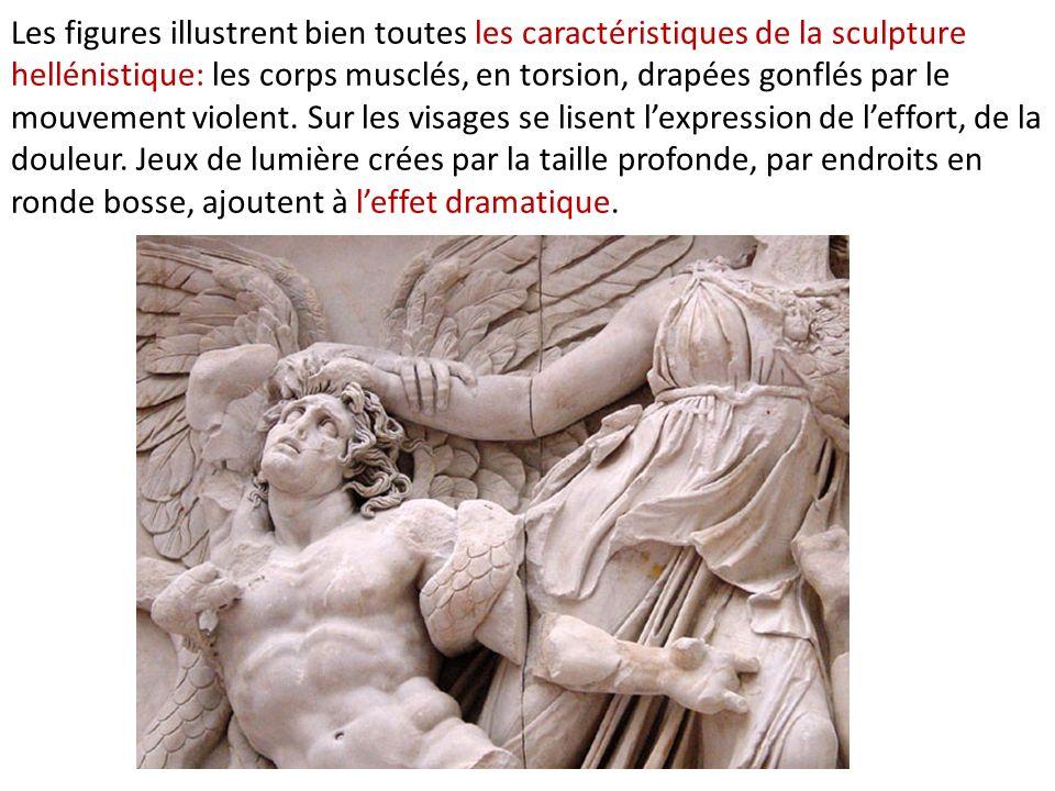 Les figures illustrent bien toutes les caractéristiques de la sculpture hellénistique: les corps musclés, en torsion, drapées gonflés par le mouvement violent.