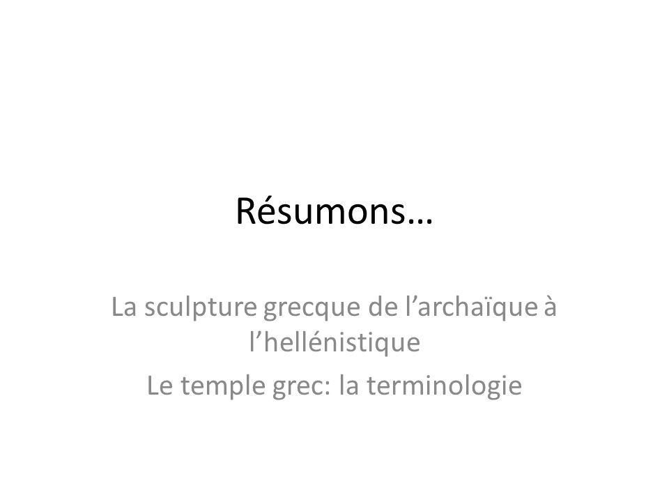 Résumons… La sculpture grecque de l'archaïque à l'hellénistique