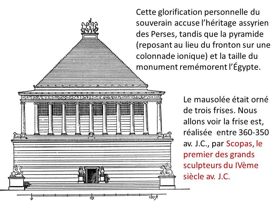 Cette glorification personnelle du souverain accuse l'héritage assyrien des Perses, tandis que la pyramide (reposant au lieu du fronton sur une colonnade ionique) et la taille du monument remémorent l'Égypte.