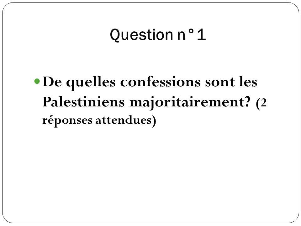 Question n°1 De quelles confessions sont les Palestiniens majoritairement (2 réponses attendues)