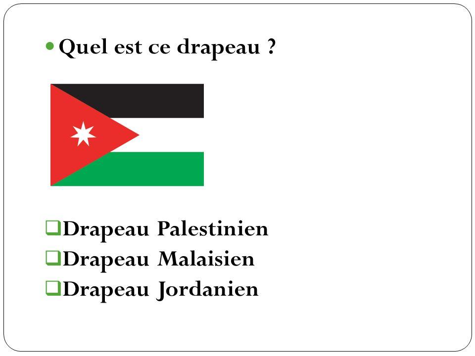 Quel est ce drapeau Drapeau Palestinien Drapeau Malaisien Drapeau Jordanien