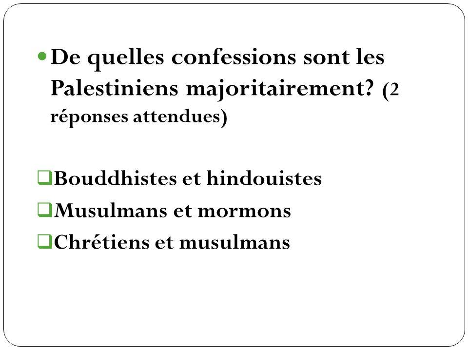 De quelles confessions sont les Palestiniens majoritairement