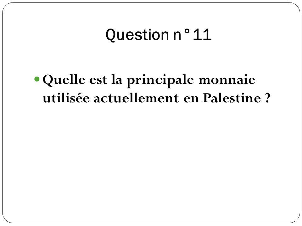 Question n°11 Quelle est la principale monnaie utilisée actuellement en Palestine