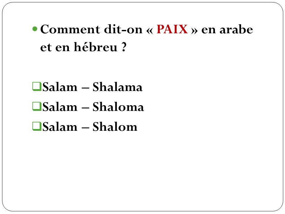 Comment dit-on « PAIX » en arabe et en hébreu