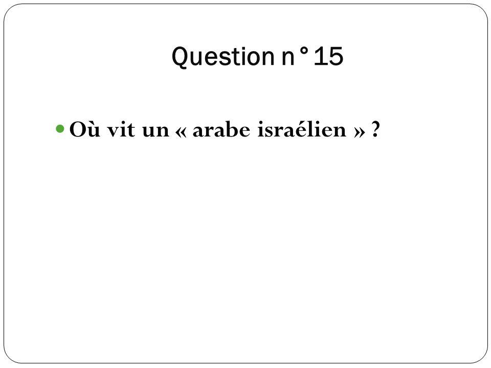 Question n°15 Où vit un « arabe israélien »