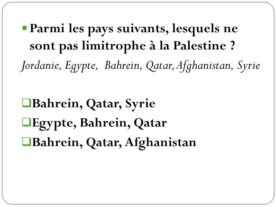 Parmi les pays suivants, lesquels ne sont pas limitrophe à la Palestine