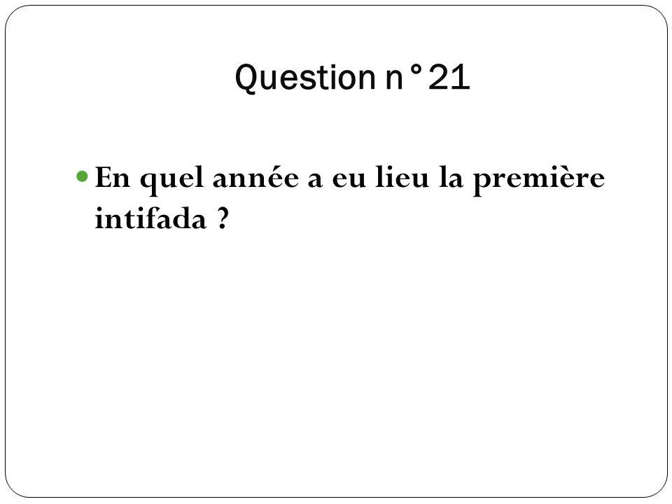 Question n°21 En quel année a eu lieu la première intifada