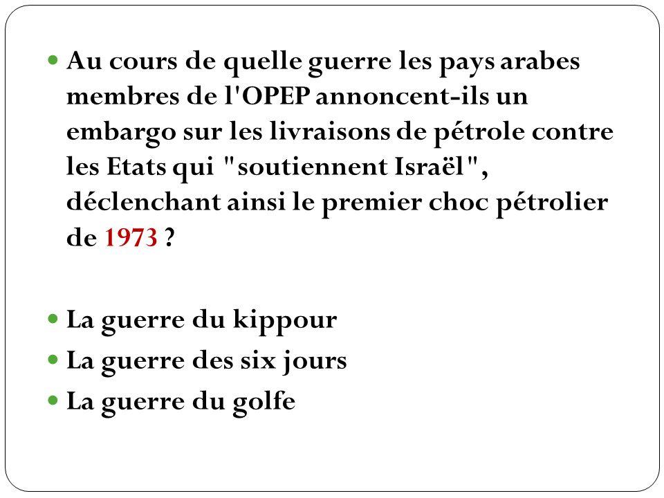 Au cours de quelle guerre les pays arabes membres de l OPEP annoncent-ils un embargo sur les livraisons de pétrole contre les Etats qui soutiennent Israël , déclenchant ainsi le premier choc pétrolier de 1973