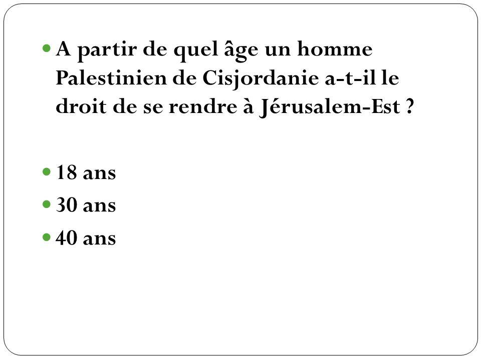 A partir de quel âge un homme Palestinien de Cisjordanie a-t-il le droit de se rendre à Jérusalem-Est