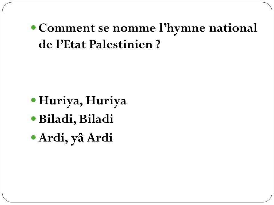 Comment se nomme l'hymne national de l'Etat Palestinien