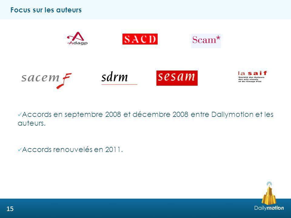 Focus sur les auteurs Accords en septembre 2008 et décembre 2008 entre Dailymotion et les auteurs.