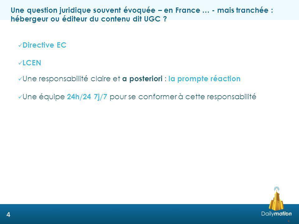 Une question juridique souvent évoquée – en France … - mais tranchée : hébergeur ou éditeur du contenu dit UGC