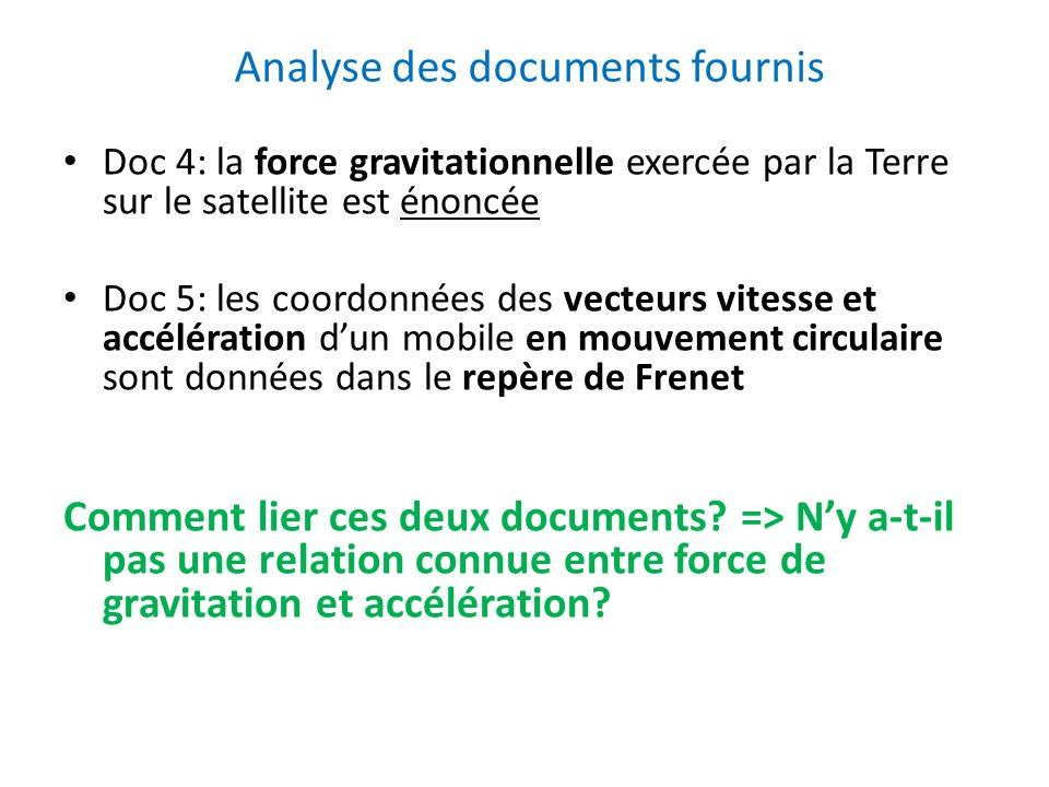 Analyse des documents fournis
