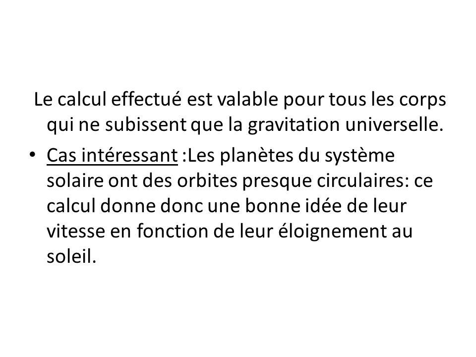 Le calcul effectué est valable pour tous les corps qui ne subissent que la gravitation universelle.