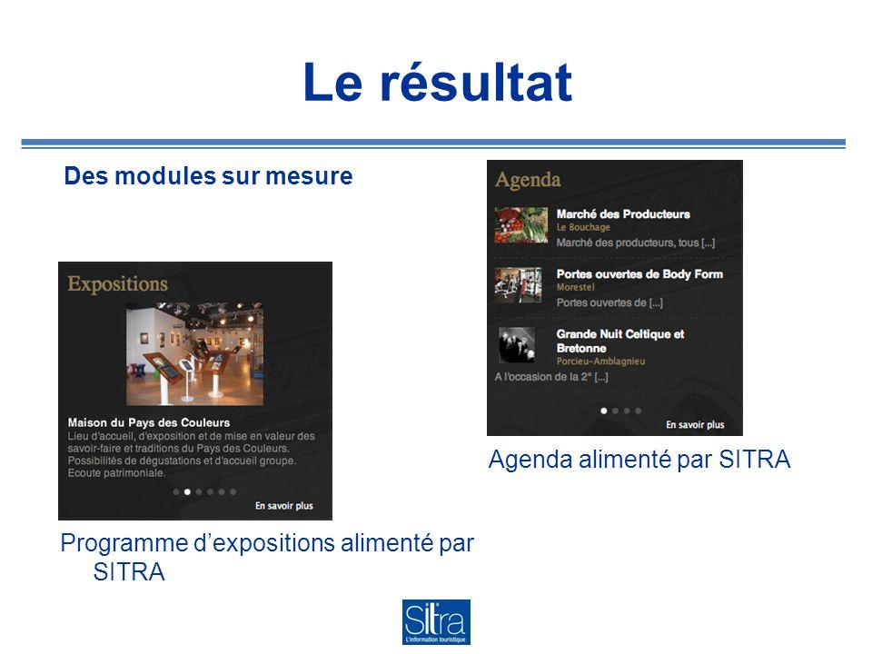 Le résultat Des modules sur mesure Agenda alimenté par SITRA