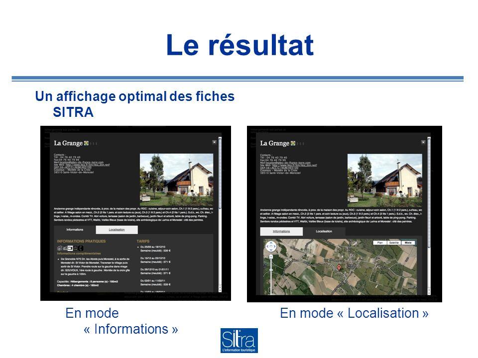 Le résultat Un affichage optimal des fiches SITRA
