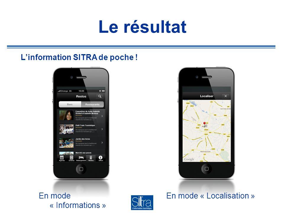 Le résultat L'information SITRA de poche ! En mode « Informations »