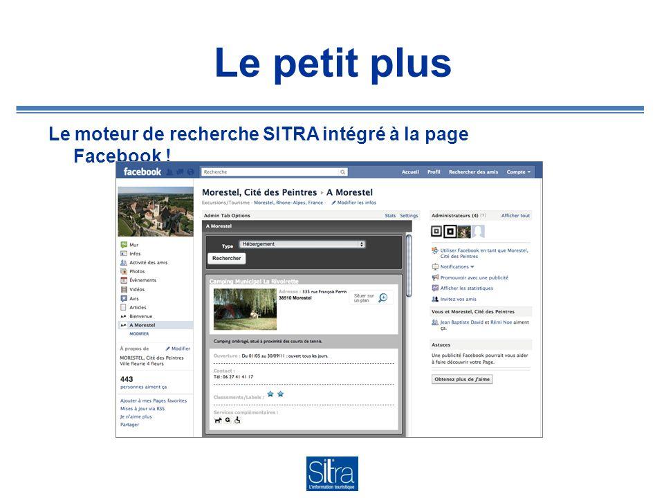 Le petit plus Le moteur de recherche SITRA intégré à la page Facebook !