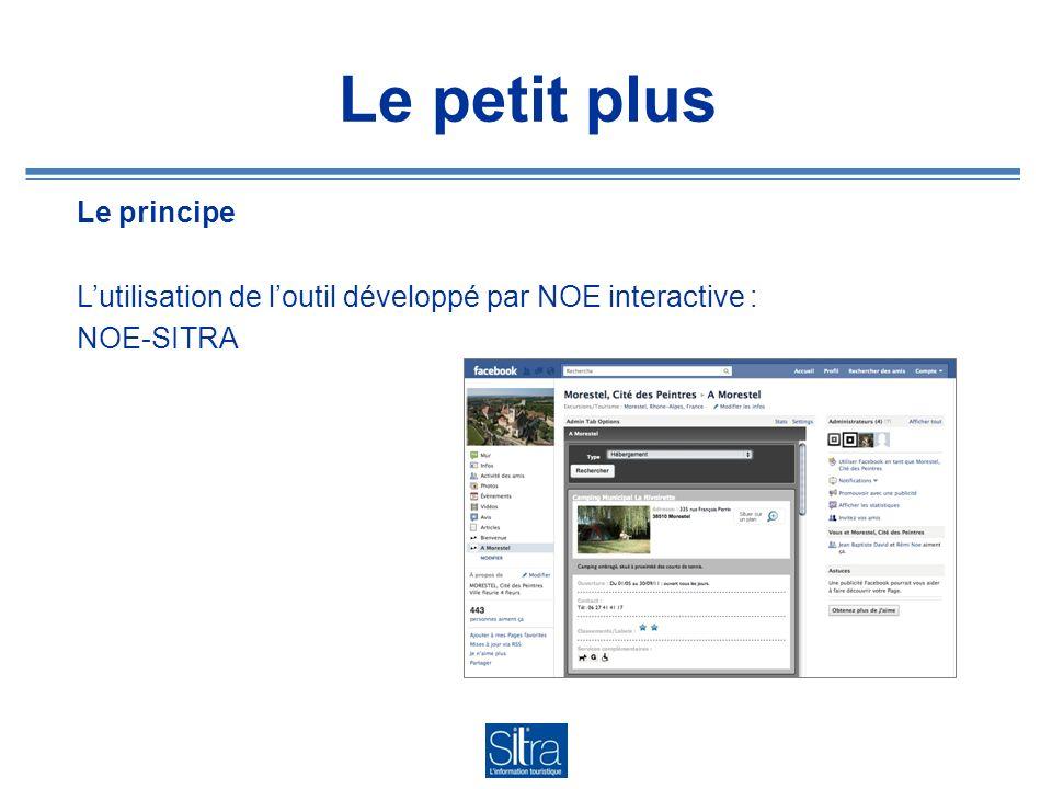 Le petit plus Le principe L'utilisation de l'outil développé par NOE interactive : NOE-SITRA