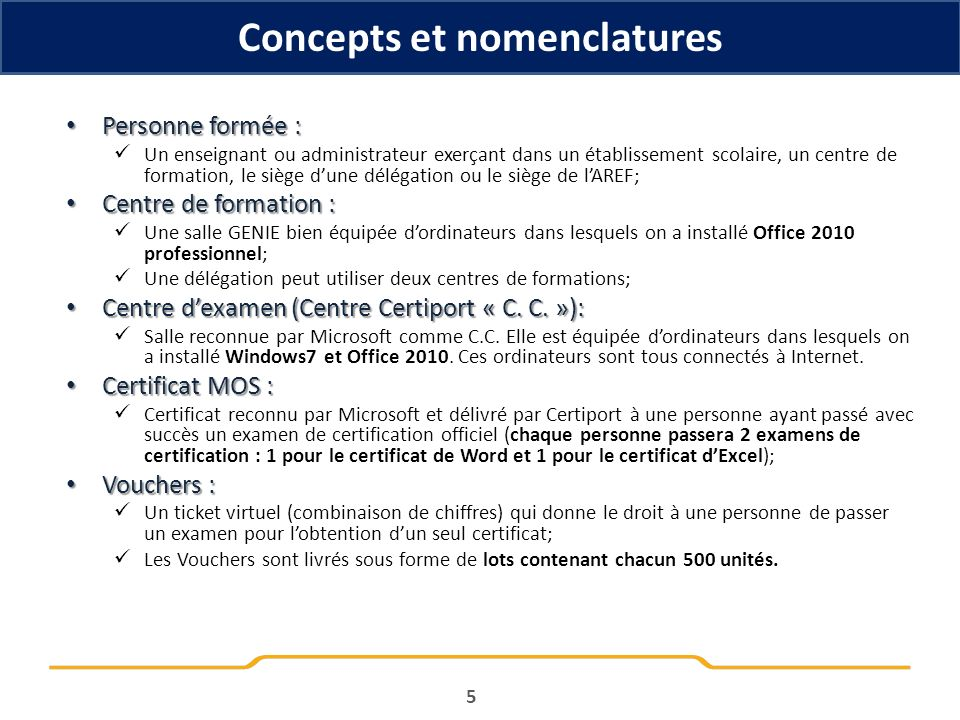 Concepts et nomenclatures