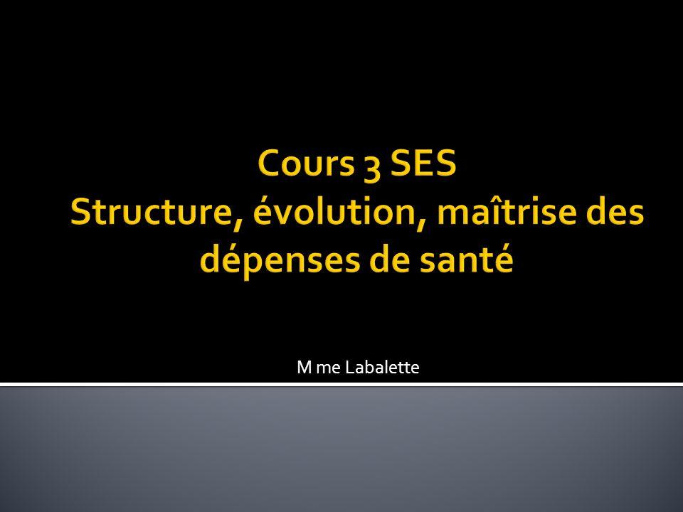 Cours 3 SES Structure, évolution, maîtrise des dépenses de santé