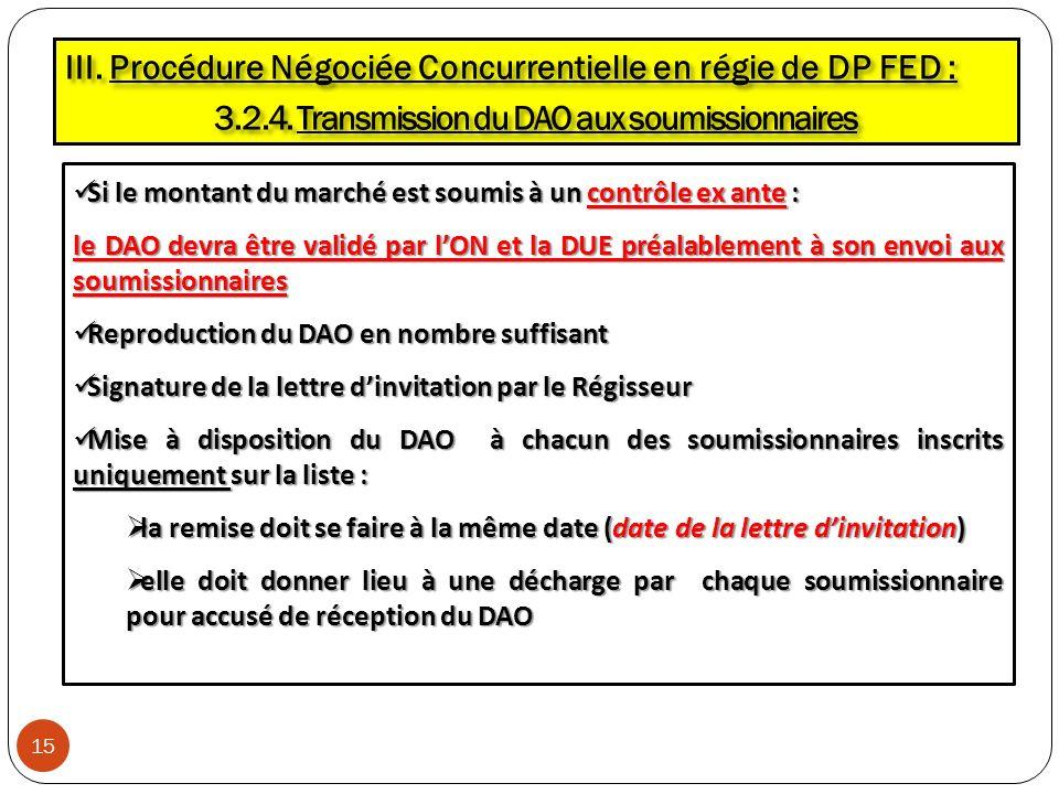 3.2.4. Transmission du DAO aux soumissionnaires