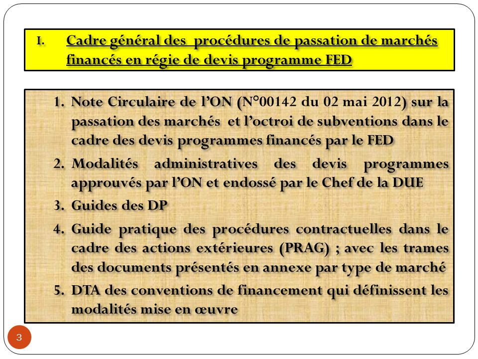 Cadre général des procédures de passation de marchés financés en régie de devis programme FED