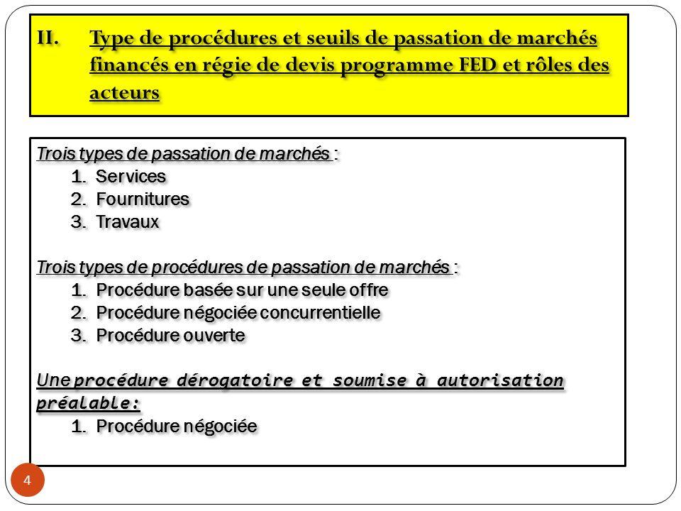 Type de procédures et seuils de passation de marchés financés en régie de devis programme FED et rôles des acteurs