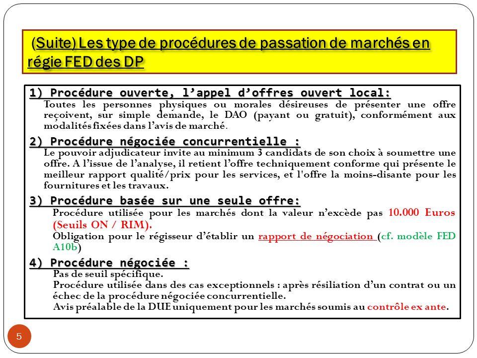(Suite) Les type de procédures de passation de marchés en régie FED des DP