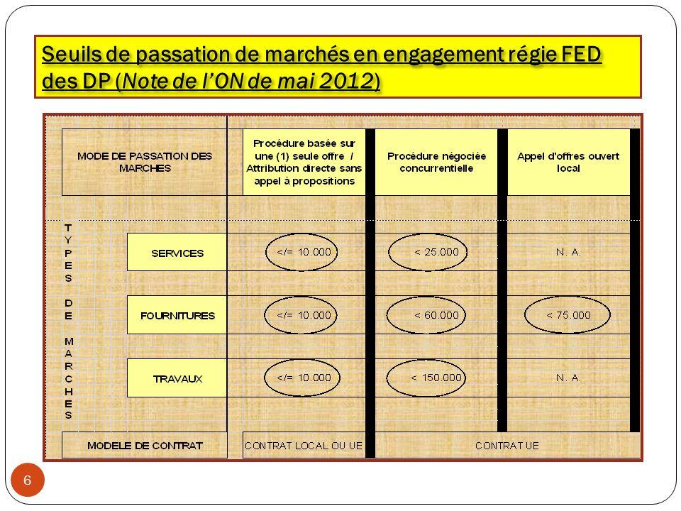 Seuils de passation de marchés en engagement régie FED des DP (Note de l'ON de mai 2012)