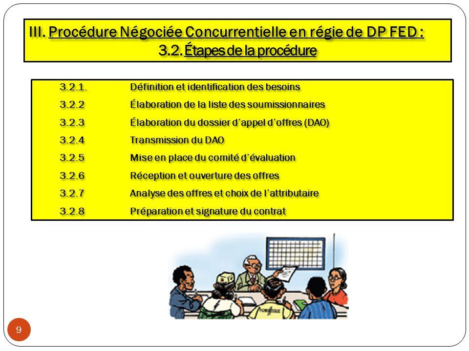 III. Procédure Négociée Concurrentielle en régie de DP FED :